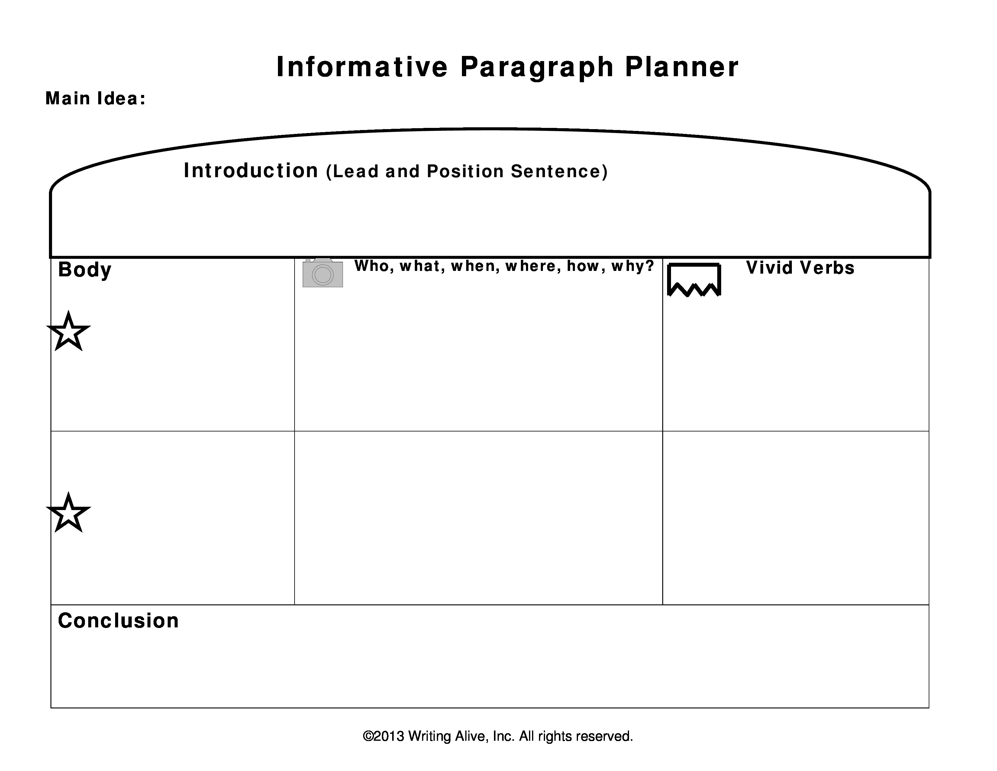 planning forms for paragraphs and essays