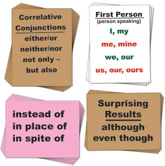 Grammar Posters: Prepositions, clauses, vivid verbs, transitions, and conjuctions